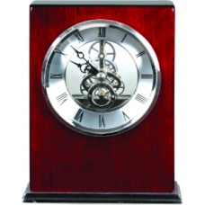 T502 Rosewood/Silver Piano Finish Clock